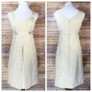 Badgley Mischka Cream Gold Jacquard A Line Dress